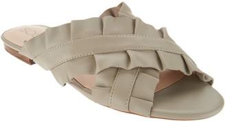 Sole Society Leather Ruffle Slide Sandals - Mandi