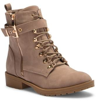 Top Moda Buckle Lace-Up Combat Boot