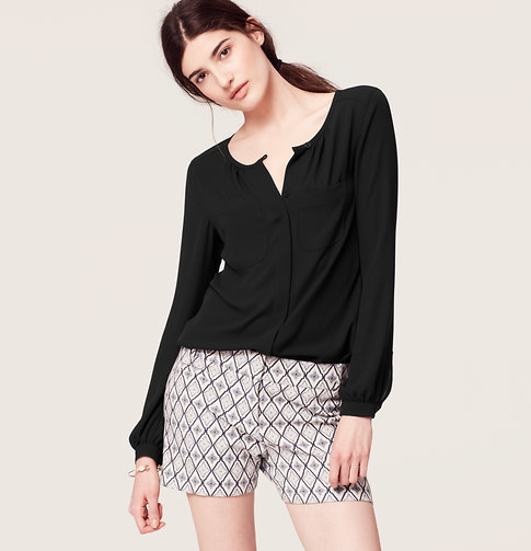 LOFT Covered Button Down Blouse