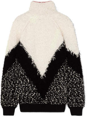Givenchy Oversized Mohair-blend Bouclé Turtleneck Sweater - Black