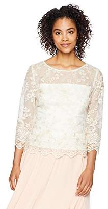 Alex Evenings Women's 3/4 Sleeve Embroidered Blouse with Scallop Detail, Ivory/Gold, S