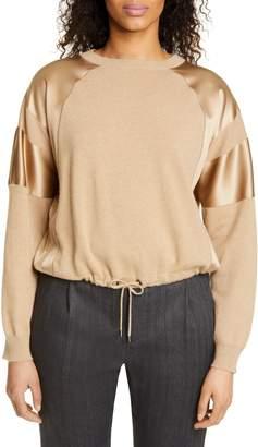 Brunello Cucinelli Satin Trim Cashmere Sweater