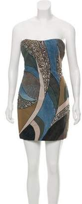 Emilio Pucci Rhinestone-Embellished Denim Mini Dress blue Rhinestone-Embellished Denim Mini Dress