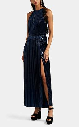 RAQUEL DINIZ Women's Feather-Trimmed Metallic-Velvet Pleated Gown - Blue