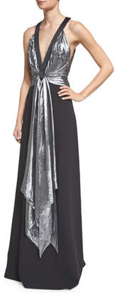 Michael Kors Sleeveless Draped-Front Gown, Black