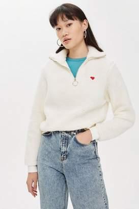 Topshop Borg Heart Zip Funnel Sweatshirt