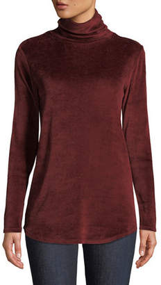 Neiman Marcus Majestic Paris for Long-Sleeve Velour Turtleneck