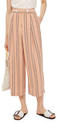 Topshop Striped Crop Wide Trousers