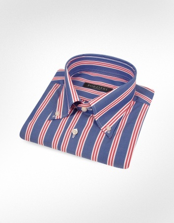 Forzieri Red and White Striped Blue Cotton Italian Dress Shirt