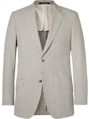 Richard James Grey Seishin Slim-Fit Striped Cotton-Seersucker Blazer