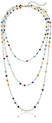 Panacea Three Row colored Crystal Chain Necklace