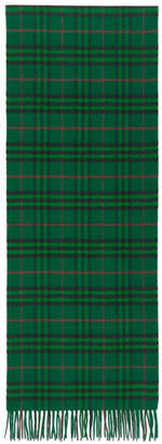 Burberry Green Cashmere Vintage Check Scarf