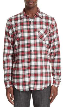 R 13 Shredded Seam Flannel Shirt