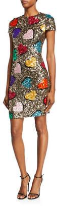 Alice + Olivia Nat Heart Sequin Cap-Sleeve Mini Dress