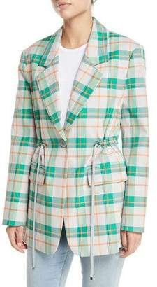 Tibi Single-Breasted Drawstring-Waist Oversized Plaid Blazer