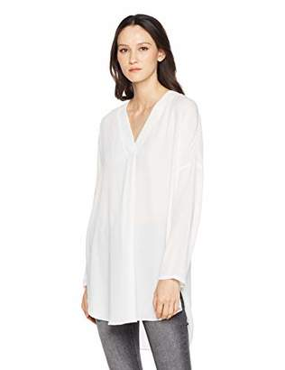 A.Dasher Women Chiffon Tunic Shirt with V-Neck 7/8 Sleeve and High Low Hem