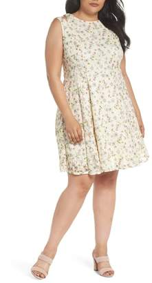 Gabby Skye Cutout Shoulder Floral Print Lace Dress