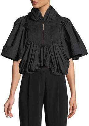 Co Embroidered Voile Pleated Cropped Jacket
