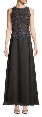J Kara Embellished Top Sleeveless Gown