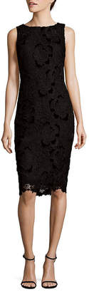 Badgley Mischka Velvet Lace Sheath Dress