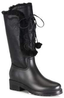 Stuart Weitzman Bearwear Leather & Faux Fur Lace-Up Boots