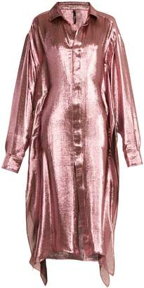 PAULA KNORR Big long-sleeved silk-blend lamé shirt