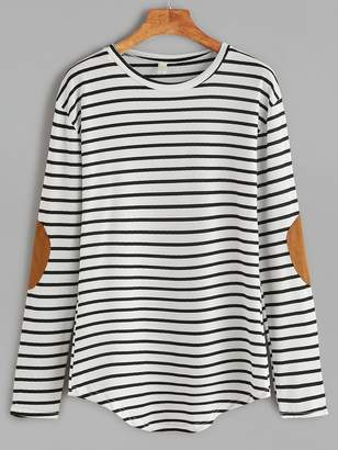 Shein Elbow Patch Striped T-shirt
