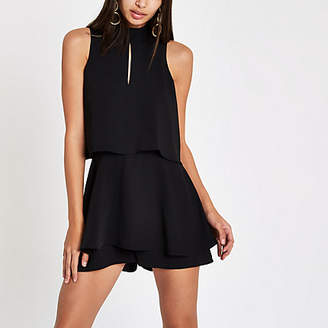 River Island Womens Black high neck tiered frill playsuit