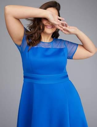 Mesh Sleeve Scuba Fit & Flare Dress