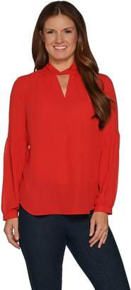 Laurie Felt Woven Top with Keyhole Detail