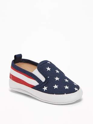 Old Navy Flag-Print Canvas Slip-Ons for Baby
