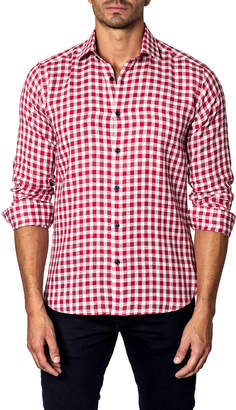 Unsimply Stitched Check Sport Shirt, Red/White