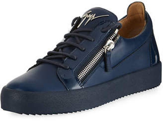 Giuseppe Zanotti Men's London Double-Zip Leather Low-Top Sneakers
