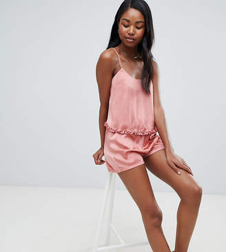 Missguided Satin Cami Top and Shorts Pajama Set