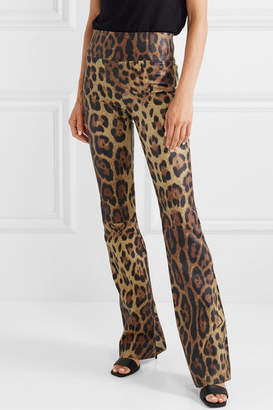 Sprwmn Leopard-print Leather Flared Pants - Leopard print