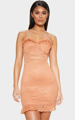 PrettyLittleThing Camel Lace Frill Hem Bodycon Dress