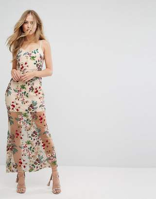 Forever New Embroidered Maxi Dress with Lace Up back