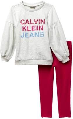 Calvin Klein French Terry Graphic Sweatshirt & Leggings Set (Toddler Girls)