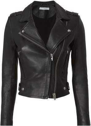 IRO Dylan Black Leather Cropped Moto Jacket