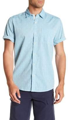 Natural Blue Short Sleeve Embroidered Dot Modern Fit Shirt