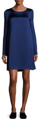 The Row Kahlid Long-Sleeve Satin Minidress, Dark Blue