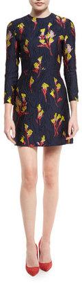 Jason Wu Floral-Jacquard 3/4-Sleeve Dress, Dark Topaz/Multi $1,995 thestylecure.com