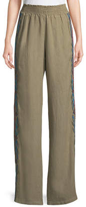 Johnny Was Izamal Embroidered-Side Linen Pants