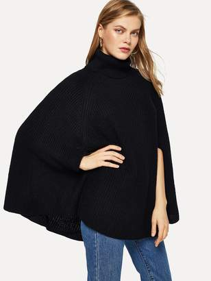 Shein Turtle Neck Solid Cape Jumper
