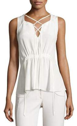 Derek Lam Lace-Up Drawstring Sleeveless Blouse, White $750 thestylecure.com