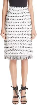 Oscar de la Renta Fil Coupe Tweed Pencil Skirt