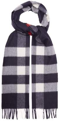 Burberry Large Classic Check Cashmere Scarf - Mens - Navy