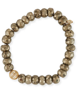 Sydney Evan 8mm Pyrite Beaded Bracelet w/ 14k Diamond Ball Charm