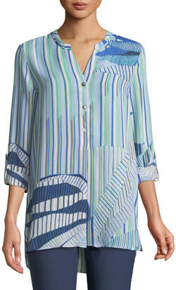 Nic+Zoe Palm Lines Long-Sleeve Button-Front Top