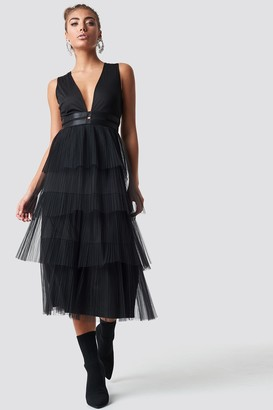 Luisa Lion X Na Kd Pleated Tulle Dress Black